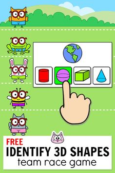 Practice identifying shapes in the real world by playing this fun team building race game in your kindergarten or grade classroom. Works with any interactive whiteboard including Smart Board, Promethean and Mimo for whole class or set it up o Team Building, Kindergarten Classroom Games, 3d Shapes Kindergarten, Classroom Ideas, Interaktives Whiteboard, Smart Board Activities, 3d Shapes Activities, Educational Websites For Kids, Shape Games