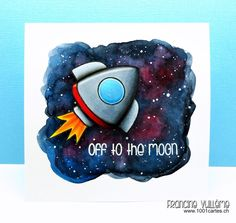 VIDEO TUTORIAL and card by Francine (www.1001cartes.ch)  using TAWS/ The Alley Way Stamps stamps (Blast off and Phone Home stamp sets) sharing how to create an outer space background