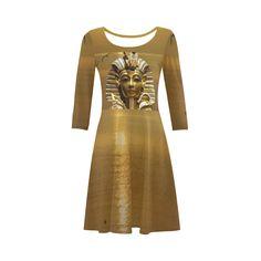 Egypt King Tut 3/4 Sleeve Sundress. Material: 92% Polyester, 8% Spandex, well made lightweight soft fabric, skin-friendly. Sizes: XS, S, M, L, XL, XXL, XXXL.FREE Shipping. #beoriginalstore #dresses