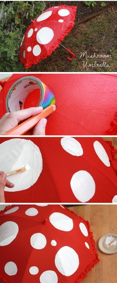 Make an adorable WIlly Wonka-inspired mushroom umbrella for the rainy season! Step by step tutorial explains exactly how you can recreate this umbrella. http://www.ehow.com/ehow-crafts/blog/willy-wonka-inspired-mushroom-umbrella/?utm_source=pinterest&utm_medium=fanpage&utm_content=blog
