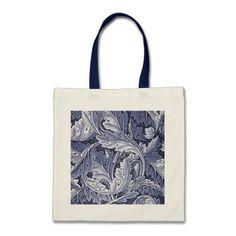 Vintage Blue Acanthus Leaf Tote Bag
