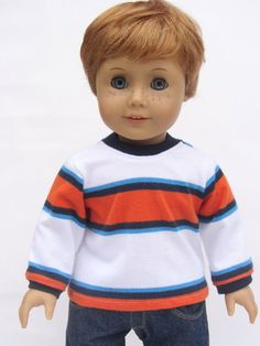 American Girl Boy Doll Clothes  Long Sleeve Striped by Minipparel