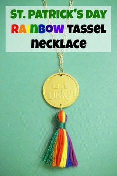 Keep your teen girls pinch-free with this easy to make St. Patrick's Day Rainbow Tassel Necklace. DIY craft project.