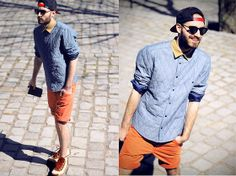 Bright shorts for men Love Fashion, Mens Fashion, Fashion Outfits, Bright Shorts, Hipster Looks, Denim Shirt, Style Me, Cool Outfits, Men Casual
