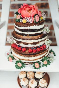 Summer inspired naked three tier wedding cake | image by Kreativ Wedding