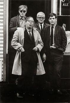 Andy Warhol, Henry Geldzahler, David Hockney, and David Goodman, Photo by Dennis Hopper David Hockney, Andy Warhol, Dennis Hopper, Pop Art Movement, Actor Studio, Multimedia Artist, Create Photo, Black And White Portraits, Magazine Art