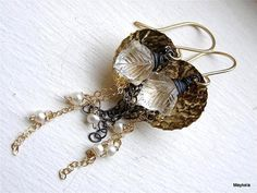 Crystal Quartz Earrings Textured Dome Earrings , Pearl , Mixed Metal Jewelry