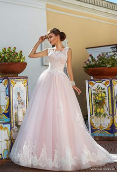 victoria soprano 2017 bridal sleeveless thick strap round neck heavily embellished bodice romantic princess pink ball gown a line wedding dress corset back chapel train (4) mv -- Victoria Soprano 2017 Wedding Dresses