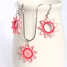 OTHER COLORS TOO - CIJ Save 30% Pink Star Earrings and Pendant Set Nine Pointed Star Paper Quilled with Niobium Earring Hooks Christmas in July. $30.50, via Etsy.