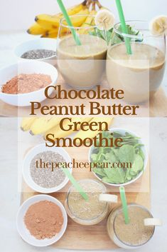 This Chocolate Peanut Butter Green Smoothie is creamy, healthy and full of nutrition. Great to start your day full of energy and tackle your goals and New Years resolutions.  via @ThePeacheePear