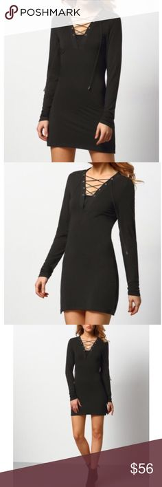 Black lace up long sleeve dress Black long sleeve dress with a vneck and laces up the front!  Super cute and works for any season!  Material is pretty stretchy and dress length is short.    ✅Offers through the offer button Dresses