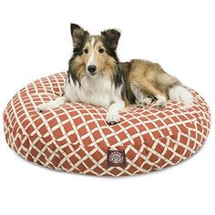 Large Orange Cross Plaid Pattern Dog Bed Elegant Gingham Checkered Pet Bedding Round Shape Features Water Stain Resists Removable Cover Soft Comfort Design Polyester