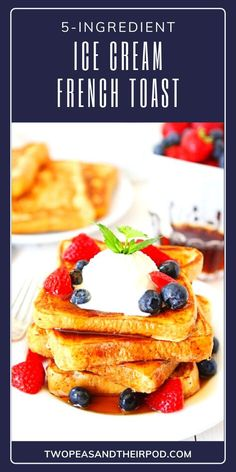 The best French Toast recipes made only 5 ingredients! This quick and easy breakfast idea has a secret ingredient that will make it so delicious. Top with maple syrup, fresh berries, and a dusting of powdered sugar. Get ready to be smitten by this recipe! Easy No Bake Desserts, Great Desserts, Dessert Recipes, Easter Desserts, Dinner Recipes, Delicious Breakfast Recipes, Fun Easy Recipes, Delicious Desserts, Awesome French Toast Recipe