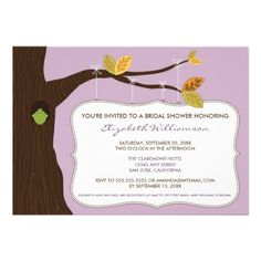 Country Oak Tree Bridal Shower Invitation (lilac) #purplewedding #weddings #bridalshowerinvitations