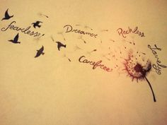 Beautiful dandelion tattoo with words (would use different words and own handwriting)