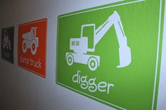 Big Construction Machines- SIZE LARGE- Vinyl Wall Decals by vineyardvinyl on Etsy https://www.etsy.com/listing/82155200/big-construction-machines-size-large
