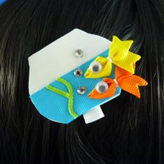 SALE - NEW - Goldie and Sunny the Goldfish Ribbon Sculpture Hair Clip...Hair Accessory...Hair Bow by KutieKlipz on Etsy https://www.etsy.com/listing/184115354/sale-new-goldie-and-sunny-the-goldfish
