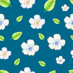 The pattern of apple flowers. Delicate apple or cherry flowers on an azure background.