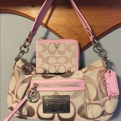 Brand new coach purse and matching wallet Brand new tan and pink coach purse and matching wallet, never used Coach Bags Shoulder Bags