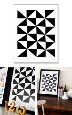 Via Gosto   Little Studio 'Just Black and White'   Geometric Poster