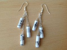Music notes paper bead earrings by MagdaCrafts on Etsy, £8.00