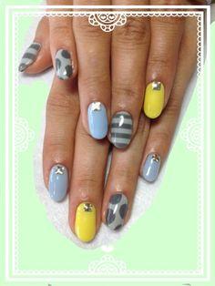 Big Polka Dots & Big Stripes.  Nail Art Manicure.