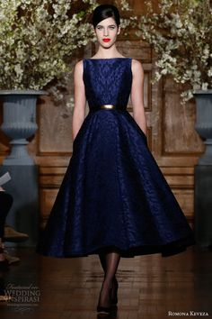 romona keveza rtw fall 2013 sapphire brocade lace cocktail dress boat neckline full tea length circle skirt style e1360 | followpics.co
