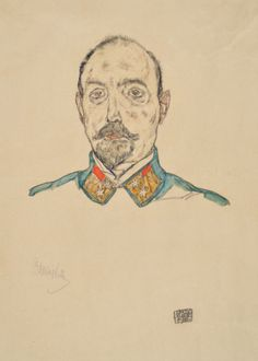 Portrait of an Officer - Egon Schiele 1916 16.5x11.5  Gouache, watercolor and pencil