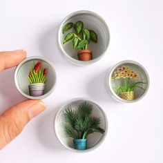 Watercolor Illustrated Plants in Tins are included in Papercut Scenes with Watercolor Illustration by Mar Cerdà Miniature Crafts, Miniature Dolls, Doll Crafts, Cute Crafts, Paper Cutting, Cut Paper, Miniature Dollhouse Accessories, Diy Dollhouse Miniatures, Dollhouse Shelf