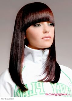 Glossy hairstyle with bangs