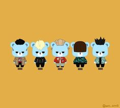 Krunk Bigbang, Yg Artist, Daesung, G Dragon, Loving U, Gd, Chibi, Panda, Fanart