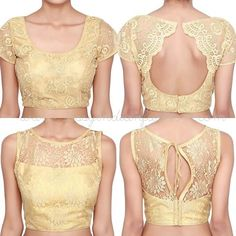 Are you looking for simple blouse designs 2019 & Find and Explore latest simple blouse back neck designs, kalamkari blouse, golden blouse images and more. Golden Blouse Designs, Netted Blouse Designs, Simple Blouse Designs, Stylish Blouse Design, Bridal Blouse Designs, Saree Jacket Designs, Choli Designs, Sari Design, Net Saree Blouse