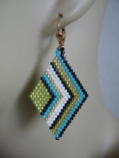 Seed Bead Diamond Shape Earrings by pattimacs on Etsy