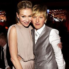 Portia de Rossi and Ellen DeGeneres Contact Ellen Degeneres, Ellen Degeneres And Wife, Portia De Rossi, Ellen And Portia Wedding, Chrissie Hynde, Celebrities Exposed, Brad Pitt And Angelina Jolie, The Ellen Show, People In Need