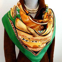 Authentic Vintage Hermes Silk Scarf Au Son Du Tam-Tam Earthy Tones with Hermes Box