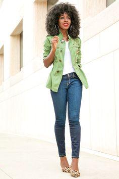 Style Pantry | Military Jacket + White Tee + Stiletto Jeans