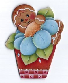 GINGERBREAD in a Flower Pot - Designed and hand painted by Pamela House