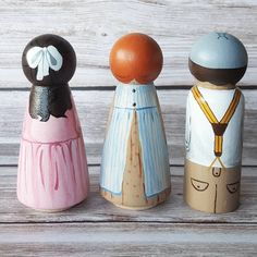 """handpainted and sealed with nontoxic paints and stand 3"""" tall. Perfect for your bookcase or dollhouse. Set of 3, $54. Only 7 sets available. . . . To purchase just comment on THIS post that you'd like them. I will DM you to follow up. They are not listed on Etsy. . . ."""