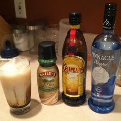 Laura's light white russian  Pinnacle whipped vodka Kahlua Skim milk Bailey's fat free coffee creamer  Mix and enjoy!
