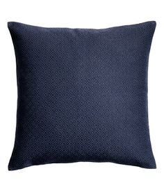 Jacquard-weave cushion cover - Dark blue/Patterned - Home All Blue And Gold Bedroom, Blue Gold, Dark Blue, Linen Pillows, Bed Pillows, Cushions, Woven Fabric, Cotton Fabric, Nordic Design