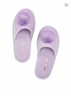 0e6ad2e53 Victorias Secret Slippers Pink & White Furry Pom Pom Christmas 2018 NWT  M 7-