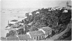 A Ladeira da Gamboa, vista do Passeio Público, antes de 1891. Vê-se a Igreja dos Aflitos, à direita, e o Solar do Unhão, embaixo.