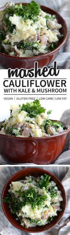 Healthy Mashed Cauliflower with Kale and Mushrooms - Easy, flavourful, low in carbs and fat!