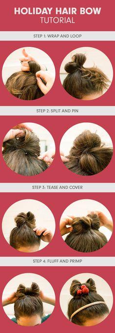 Holiday Hair Bow Tutorial   Beautylish