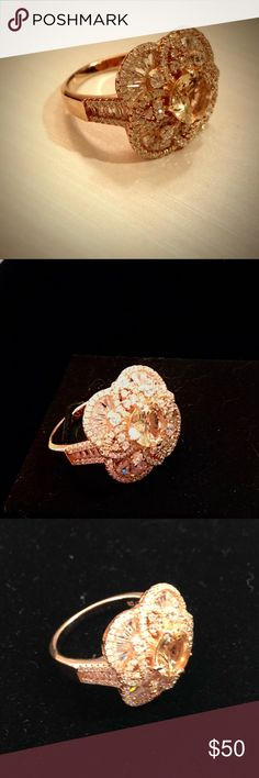 Created Morganite Filigree Floral Ring Rose Gold Set in 14k rose gold-plated sterling silver. Embellished with cubic zirconias. Size 9. Jewelry Rings