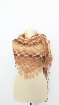 DISCOUNT  Brown crochet shawl Triangle warm scarf by modelknitting