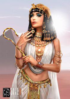 Cleopatra, Saigon Dragon Studios - Cleopatra, the queen of Egypt - Ancient Egypt Fashion, Egyptian Fashion, Ancient Egypt Art, Ancient Aliens, Ancient Artifacts, Ancient Greece, Ancient History, Isis Goddess, Goddess Art