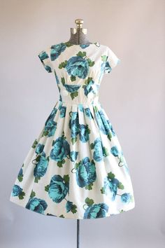 Vintage 1950s Dress / 50s Cotton Dress / Turquoise and Blue Floral Dress w/ Shelf Bust S
