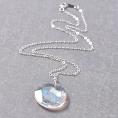 Silver Necklace with Solitary Clear by ZuzusPetalsCreations, $28.00