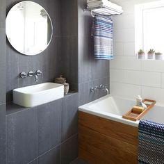 Modern bathroom with slate grey tiles | Bathroom decorating | Ideal Home | Housetohome.co.uk